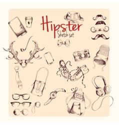 Hipster sketch set vector image