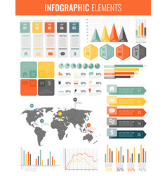 infographic elements with world map and charts vector image