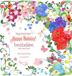 Lovely invitation card with beautiful flowers and vector