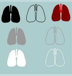 lungs red black grey white icon vector image vector image
