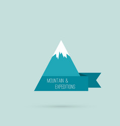 Mountains with ribbon vector image