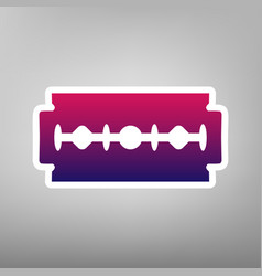 Razor blade sign purple gradient icon on vector