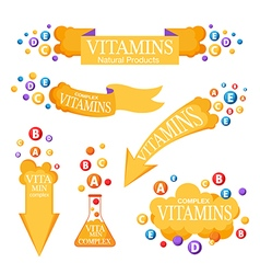 Set of banners with vitamins vector image vector image
