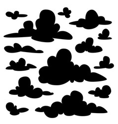 set of black fluffy clouds silhouettes on white vector image vector image