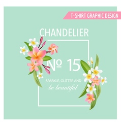 Tropical flowers and leaves background exotic grap vector
