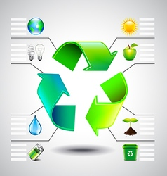 Environment inforgaphics green recycle symbol and vector