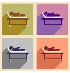 Modern flat icons collection with shadow patient vector