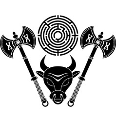 Minotaur stencil second variant vector
