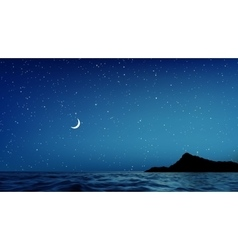 Blue night sky and sea with lots of stars vector