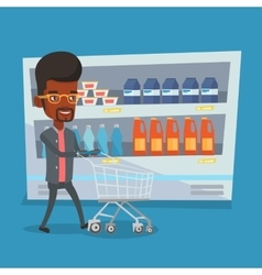 Customer with shopping cart vector