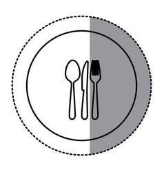 fugure emblem metal cutlery icon vector image