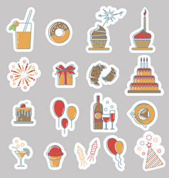 birthday line stickers vector image