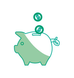 Silhouette save coins money inside pig vector