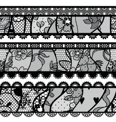 Set of lacy vintage trims vector