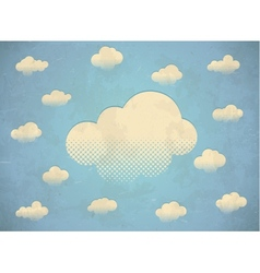 Vintage aged card with white clouds in the sky vector