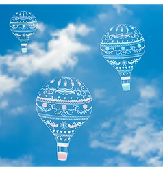 With decorative hot air ballons in blue sky vector