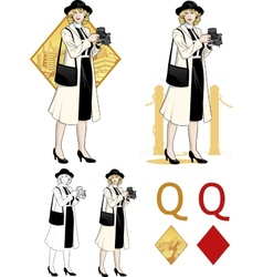 Queen of diamonds caucasian woman photographer vector