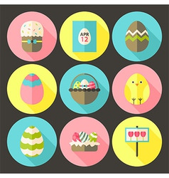 Easter flat styled circle icon set 1 with long vector