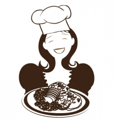 chinese woman holding plate vector image