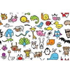 seamless doodle animal pattern vector image