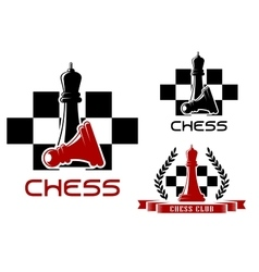 Chess club icons with queen and pawn vector