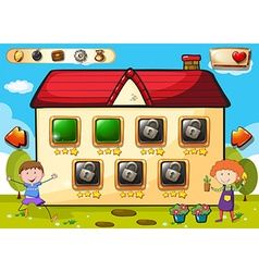 Game template with boys in garden vector