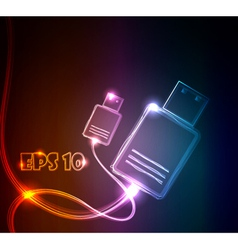 glowing usb vector image