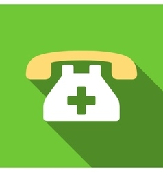 Clinic phone flat long shadow square icon vector