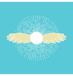 Winged sun symbol vector