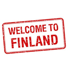Welcome to finland red grunge square stamp vector