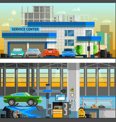 Auto service flat horizontal banners vector