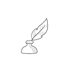 Feather in inkwell sketch icon vector image