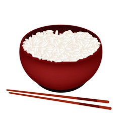 A bowl of white rice on white background vector