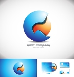 Blue orange 3d sphere logo icon design vector image vector image
