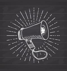 Bullhorn or megaphone loudspeaker hand drawn vector