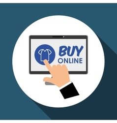 Buy online over white background computer vector
