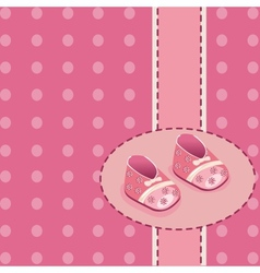 Card for baby girl shoes vector