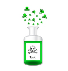 Chemical bottle with steamy toxic solution vector