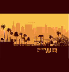 City skyline silhouette at sunset vector