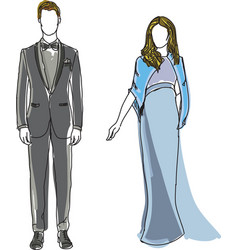 Drawn man in suit and woman wearing blue dress vector
