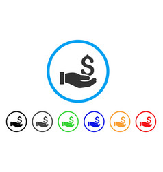 earnings hand rounded icon vector image vector image