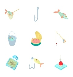 Fishing icons set cartoon style vector image vector image