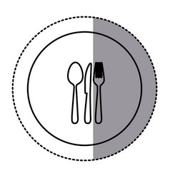 fugure emblem metal cutlery icon vector image