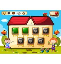 Game template with boys in garden vector