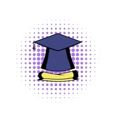 Graduation cap and diploma icon vector