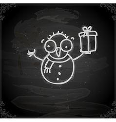 Hand Drawn Snowman vector image vector image