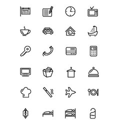 Hotel and restaurant line icon 1 vector
