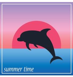 Image dolphin in the sun and ocean vector image