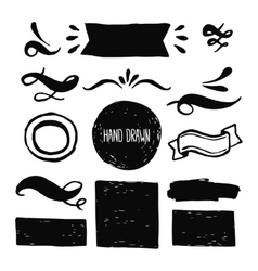 Ink design labels ribbons and decorative elements vector