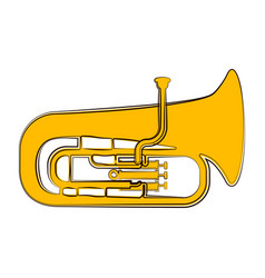 Isolated tuba sketch musical instrument vector